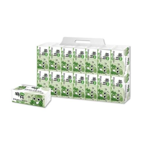 【綠荷】柔韌抽取式花紋衛生紙100抽112包 1箱/組