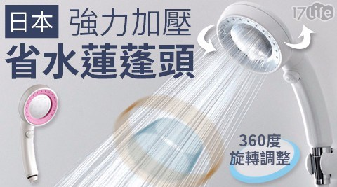 日本360度可調節強力加壓省水蓮蓬頭