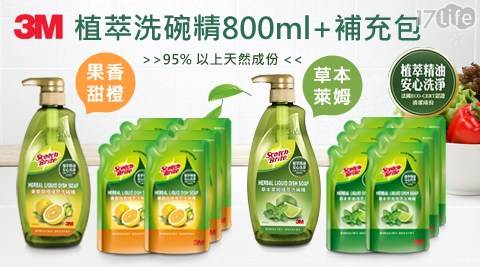 【3M】果香甜橙植萃洗碗精/洗碗精/3M/清潔/碗盤